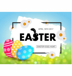 Easter egg hunt holiday banner design with eggs vector