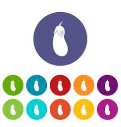 eggplant set icons vector image