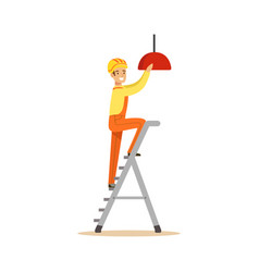 Electrician standing on a stepladder installing vector