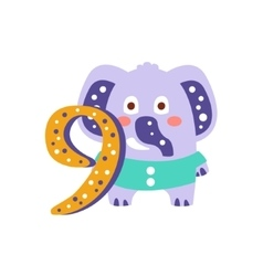 Elephant standing next to number nine stylized vector