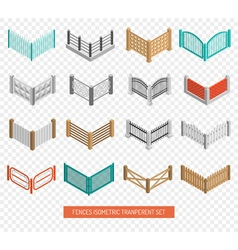 Fences types icons isometric transparent set vector