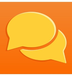 Flat orange chat icon with shadow vector