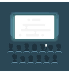 Flat style of people watching movie vector
