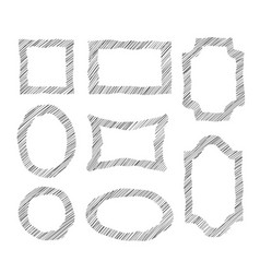 frame set different shape grunge border in doodle vector image vector image