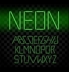 Green glowing neon bar alphabet on transparent vector