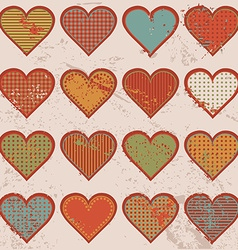 Grunge retro background with hearts vector image vector image