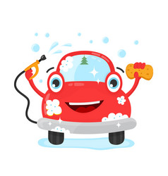 happy cute fun clear car with hose and washcloth vector image vector image