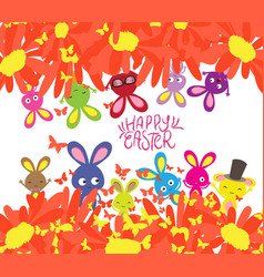 Happy easter with rabbit sunflowers and vector