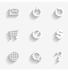 Icons set white vector