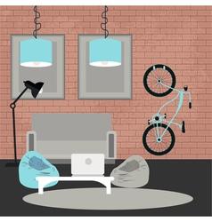 Modern interior living room in grunge style vector