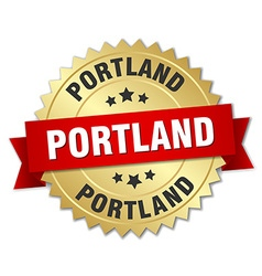 Portland round golden badge with red ribbon vector