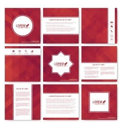 Red set of square template brochure business vector