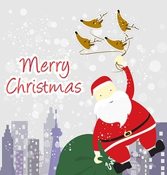 santa Claus with winter background vector image