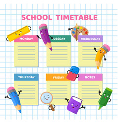 School timetable with funny cartoon stationery vector