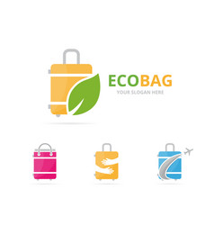 set of bag logo combination baggage and eco vector image vector image