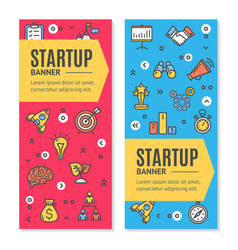 start up flyer banner placard set vector image vector image