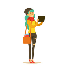 Student girl in fashionable clothes and long vector