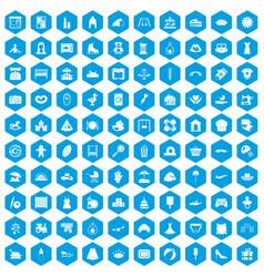 100 motherhood icons set blue vector