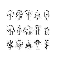 Primitive simple contour line trees nature plants vector