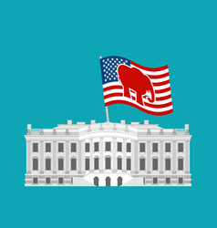 Republicans win white house flag red elephant vector