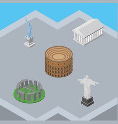 Isometric travel set of athens rio england vector