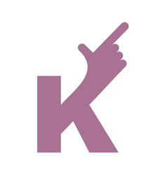 k letter hand isolated forefinger lettering on vector image