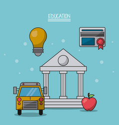 Colorful poster of education with parthenon in vector