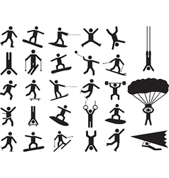 Pictogram people doing extreme sports vector image