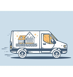 Van free and fast delivering home goods t vector