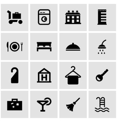 Black hotel icon set vector