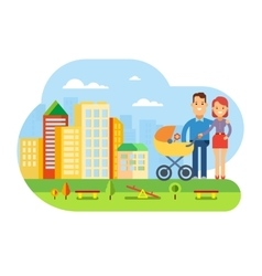 Happy Young Family with Baby on City Landscape vector image