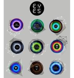 Eyes collection human pupil vector