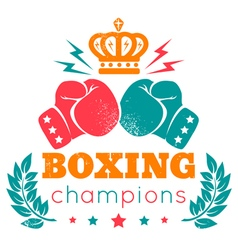 Boxing champions crown color vector