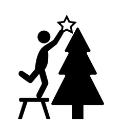 Man with christmas tree decoration flat black vector