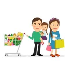 Happy family shopping vector image