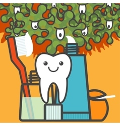 Tooth and dental care things vector