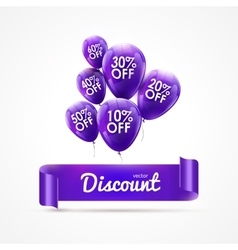 Flying colored lilac balloons with ribbon and vector