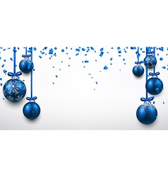 Abstract banner with blue christmas balls vector image