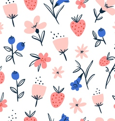 Abstract flowers and berries on white vector