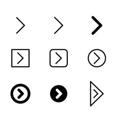 Arrow icon set in thin line and filled vector