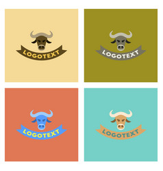assembly flat icons nature bull logo vector image vector image