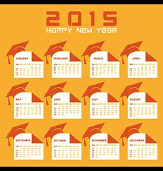 Calendar of 2015 with education concept design vector image