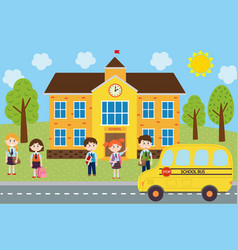 Children near the school are waiting the bus vector