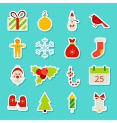 Christmas Holiday Stickers vector image vector image