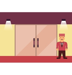 Doorman flat graphic vector image