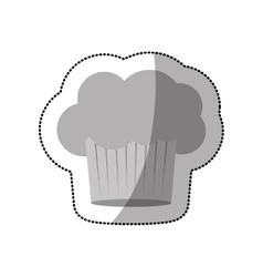 Dotted sticker of chefs hat in cake shape vector