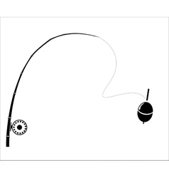 Fishing rod on the white backdrop vector image vector image