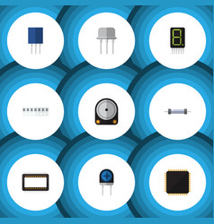Flat icon device set of memory receptacle cpu vector