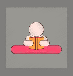 flat shading style icon man reading book vector image