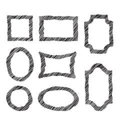 frame set different shape grunge border in doodle vector image vector image
